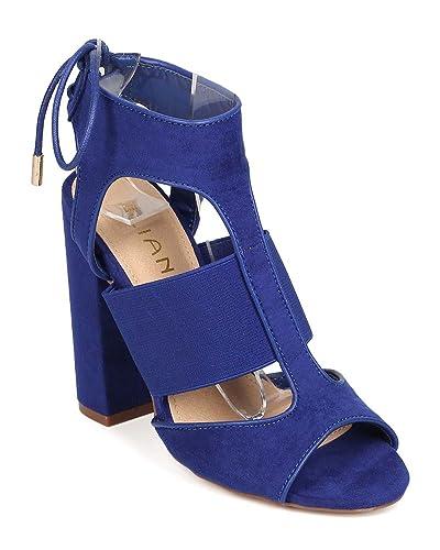 49fba2f582a5 Liliana Women Suede Peep Toe Elastic Lace Up Block Heel Sandal EH02 - Cobalt  Blue (