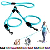 Pawtitas Correa de entrenamiento para mascotas Ajustable, Suave, Reflectante, perfecto para Cachorro y perros adultos, Paseo de 2 perros simultáneamente. Talla Mediana y Grande Color Lila