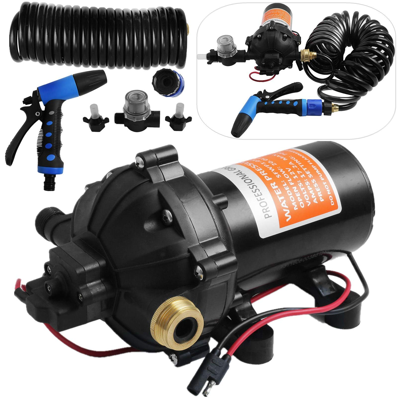 Happybuy RV Water Pump 5.3 GPM 5.5 Gallons Per Minute 12V Water Pump Automatic 70 PSI Diaphragm Pump with 25 Foot Coiled Hose Washdown Pumps for Boats Caravan Rv Marine Yacht by Happybuy