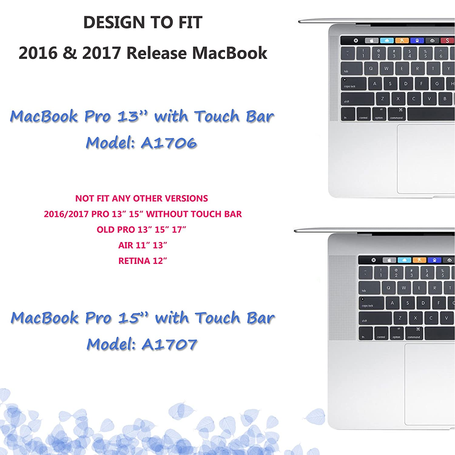 CIAOYE MacBook Keyboard Cover for 2016-2019 Pro 13 Pro 15 Inch with Touch Bar A1706 A1989 A2159 A1707 A1990 Washable Silicone Keyboard Skin for Pro 13 Fade Green with Touch Bar /& Pro 15