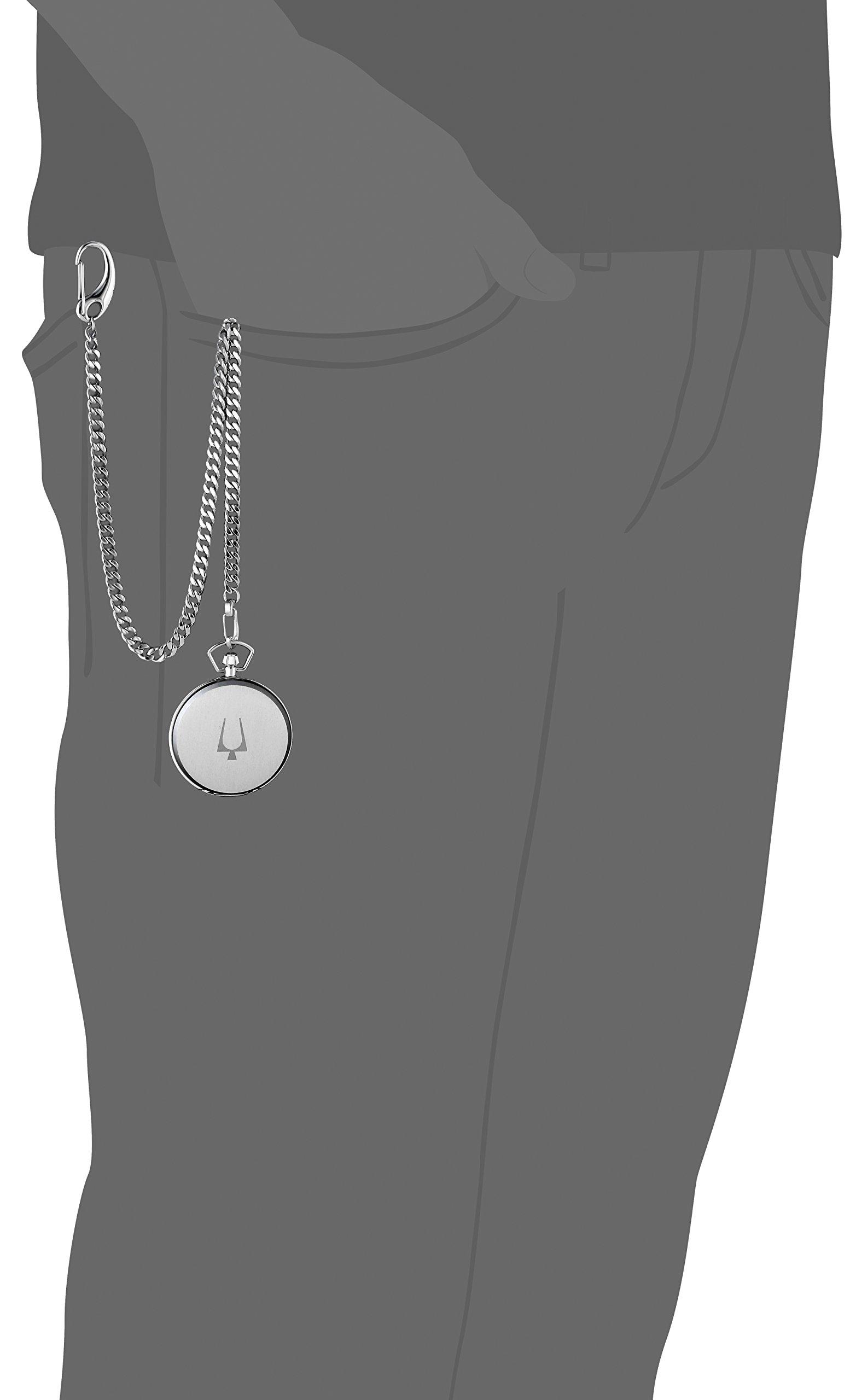 Bulova Men's Quartz Stainless Steel Pocket Watch, Color:White (Model: 96B270)