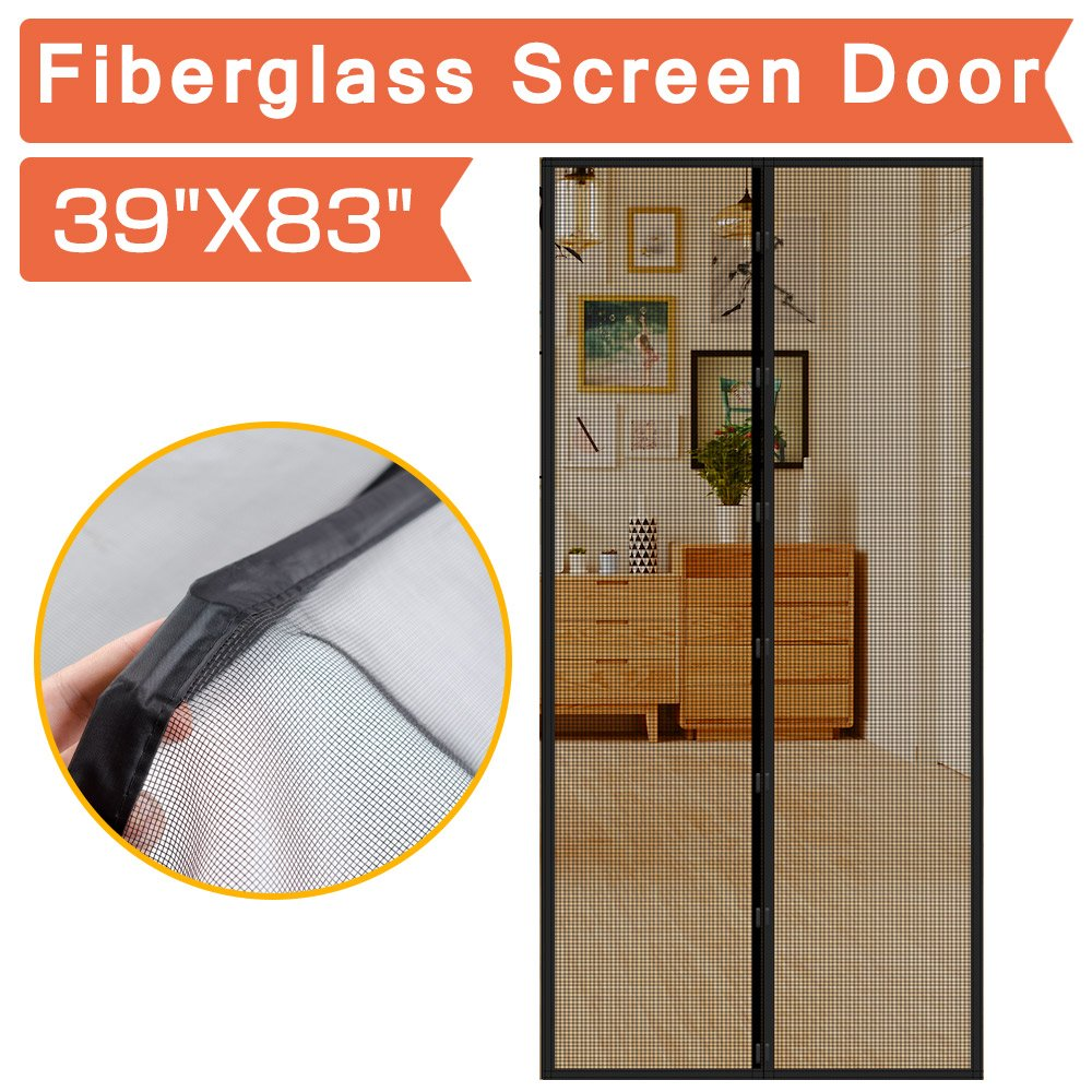IKSTAR Screen Door Magnetic Fiberglass Mesh Anti Tear Full Frame Velcro Hand Free Close Open Automatically Keep Bugs Out Dogs Kids Friendly Door Cutain Size 39x83