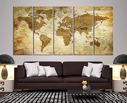 Modern Large Wall Art Vintage Old World Map Map Push Pin Canvas Print
