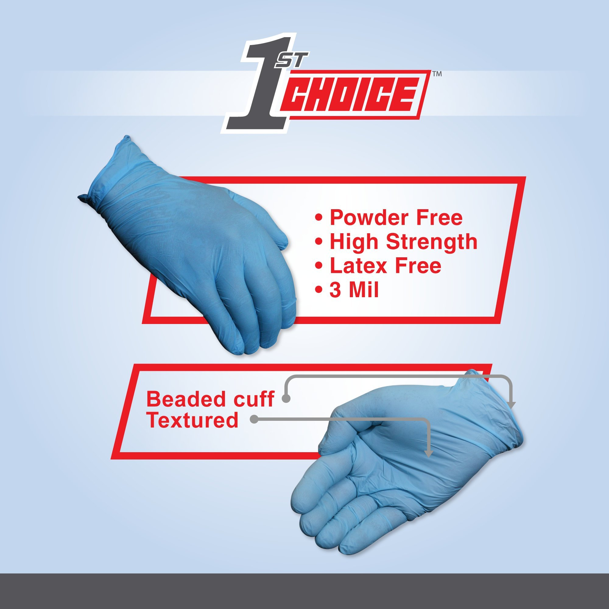 1st Choice Blue Nitrile 3 Mil Thick Disposable Gloves, Medium, Case of 1000 - Industrial Grade, Latex-Free by 1ST CHOICE (Image #3)