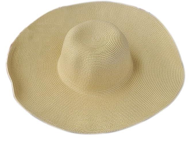 AOBRITON Women s Sun Hat Summer Oversized Beach Cap Straw Tropical Panama  Wide Brim Hat 8c1eda551e0b