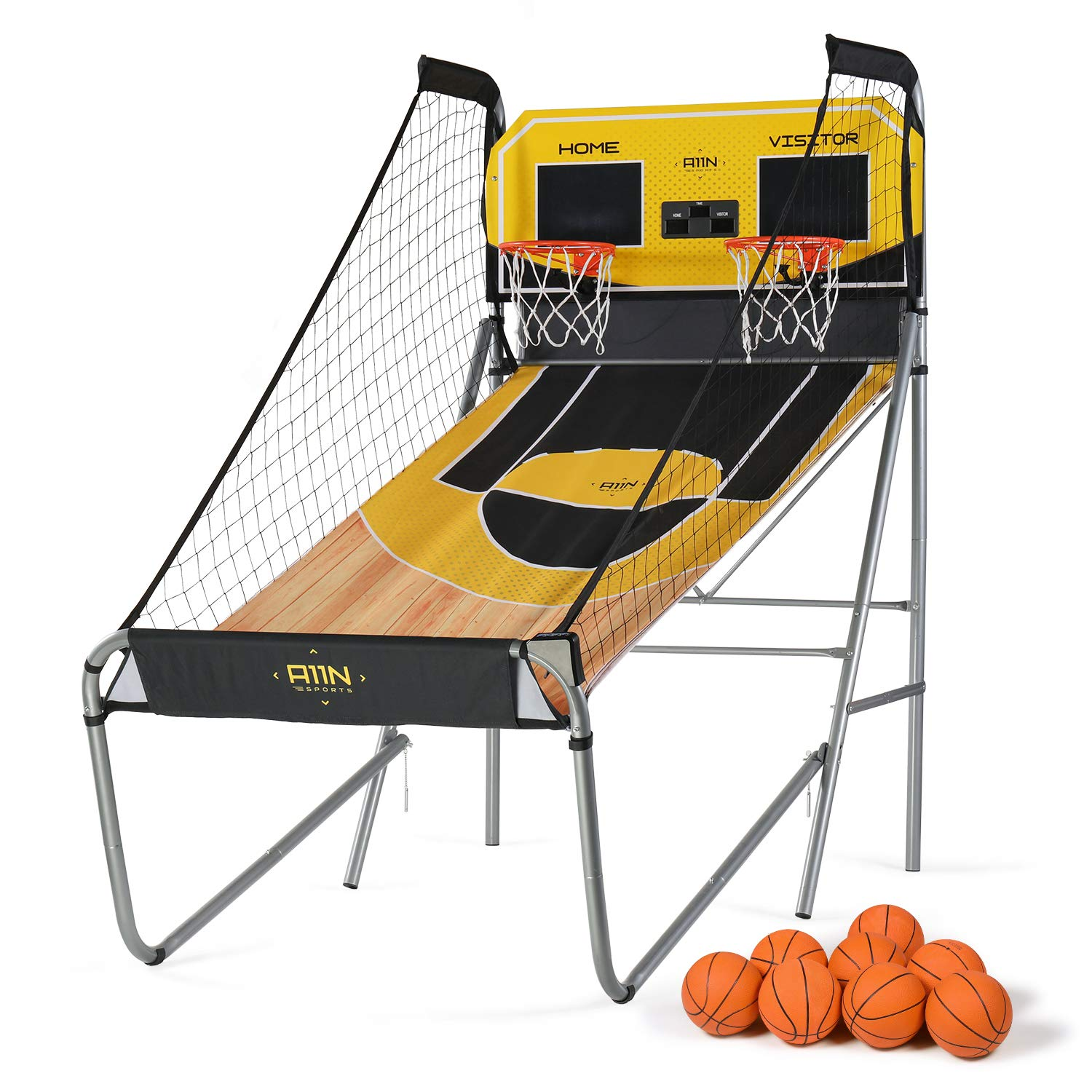 A11N Sharpshooter Dual Shot Basketball Shootout Game, 8 Game Options & 8 Balls, Home Office Indoor Arcade Game with Heavy-Duty Frame, LED Scoreboard and Sound Effects, Folding for Space Saving by A11N SPORTS