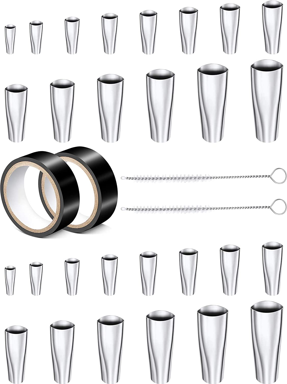 AIEX 14pcs Caulking Finisher Kit Stainless Steel Assorted Sizes Caulk Nozzle Applicator Caulking Tool for Kitchen Bathroom Window