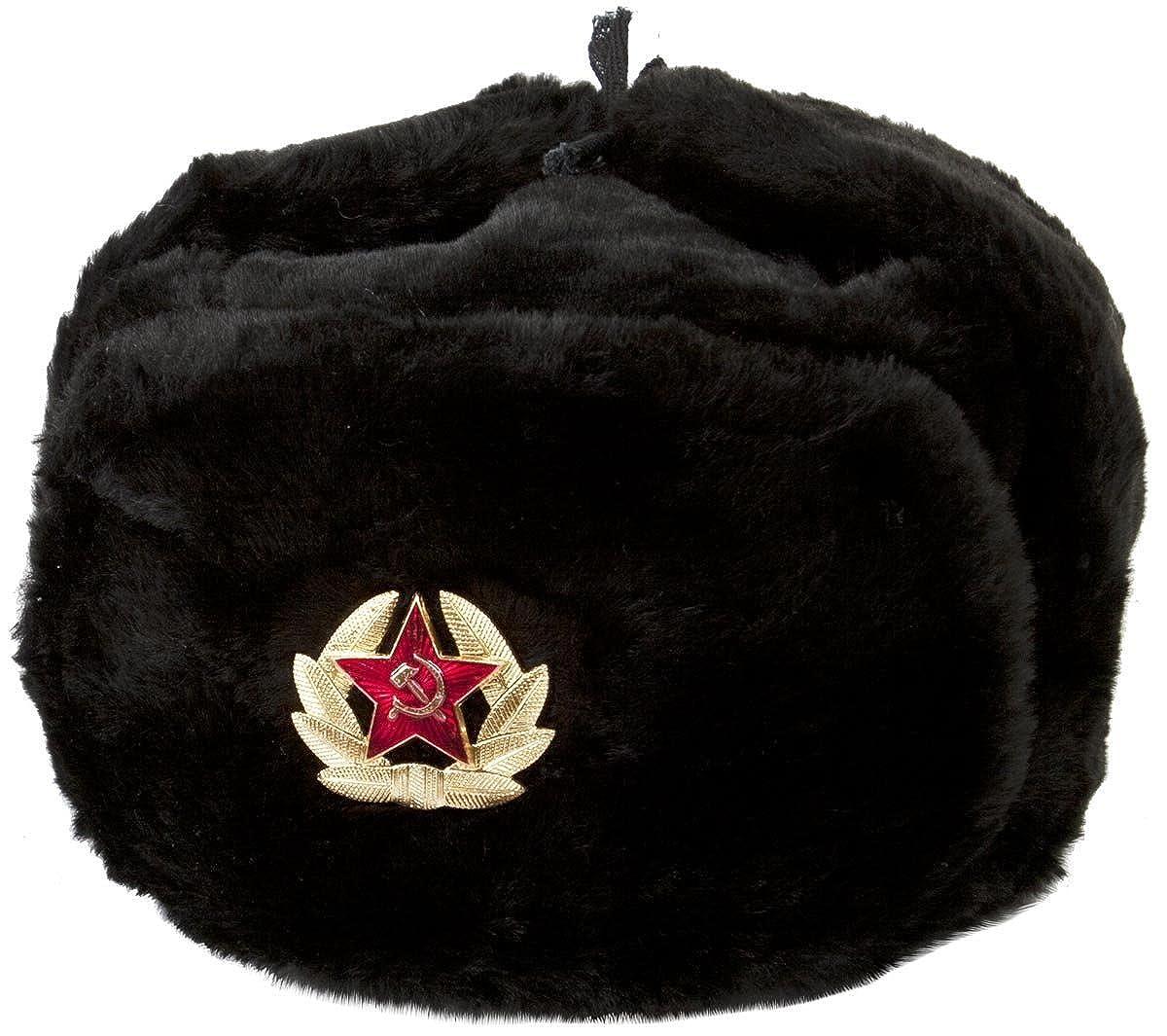Hat Russian Soviet Army KGB * Fur Military Cossack Ushanka * Size XL Black RussianOrnaments 0054