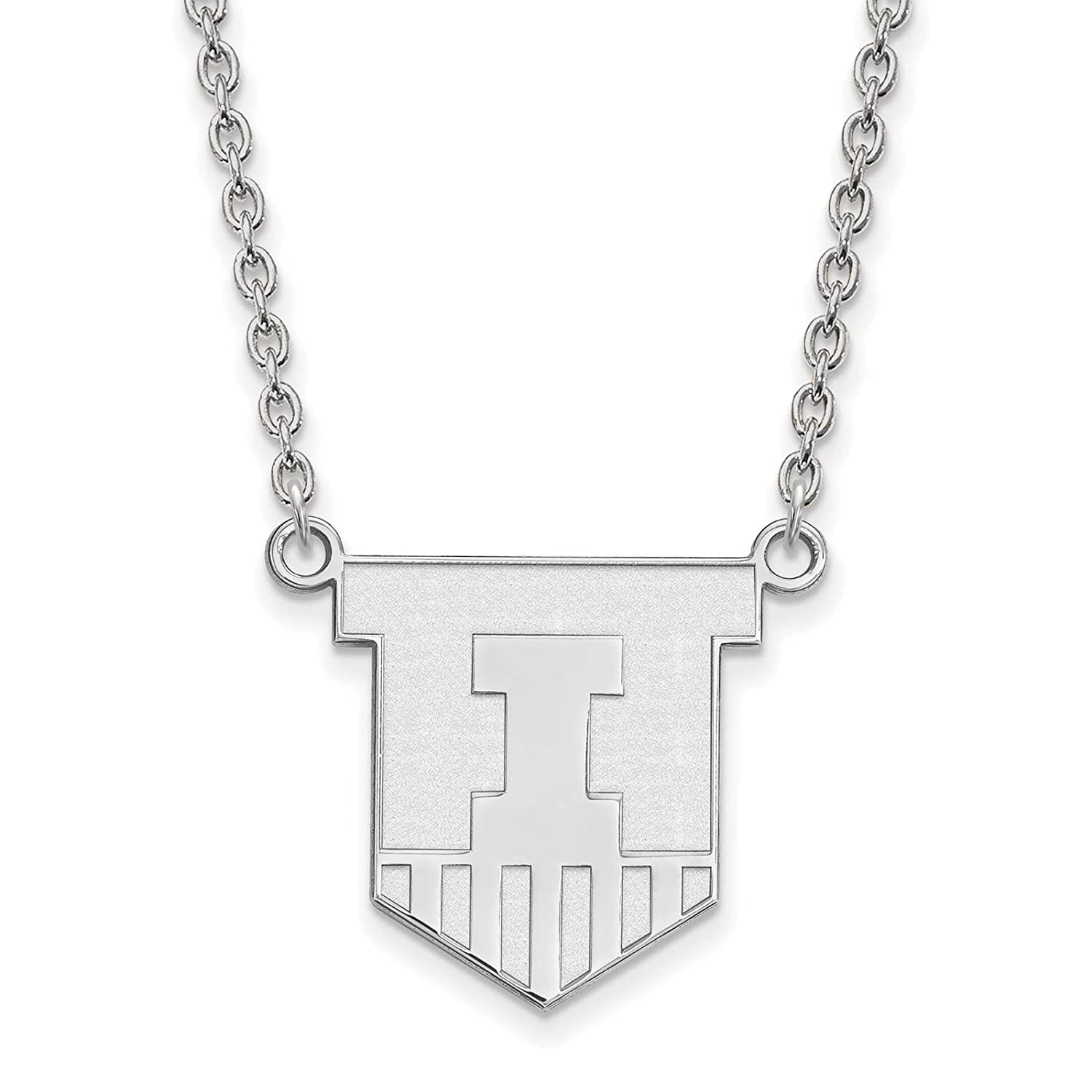 925 Sterling Silver Rhodium-plated Laser-cut University of Illinois Large Pendant w//Necklace 18