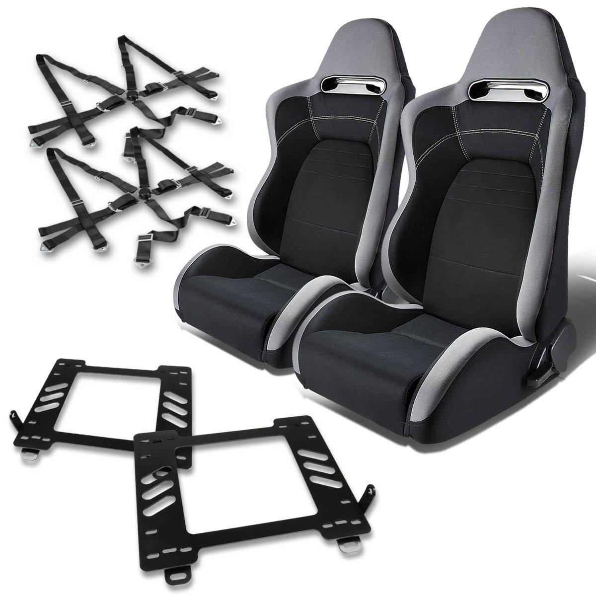 For Mazda Miata MX5 NA Pair of T100 Type-R Racing Seats (Gray & Black)+Seat Bracket+4-Point Green Belt Auto Dynasty