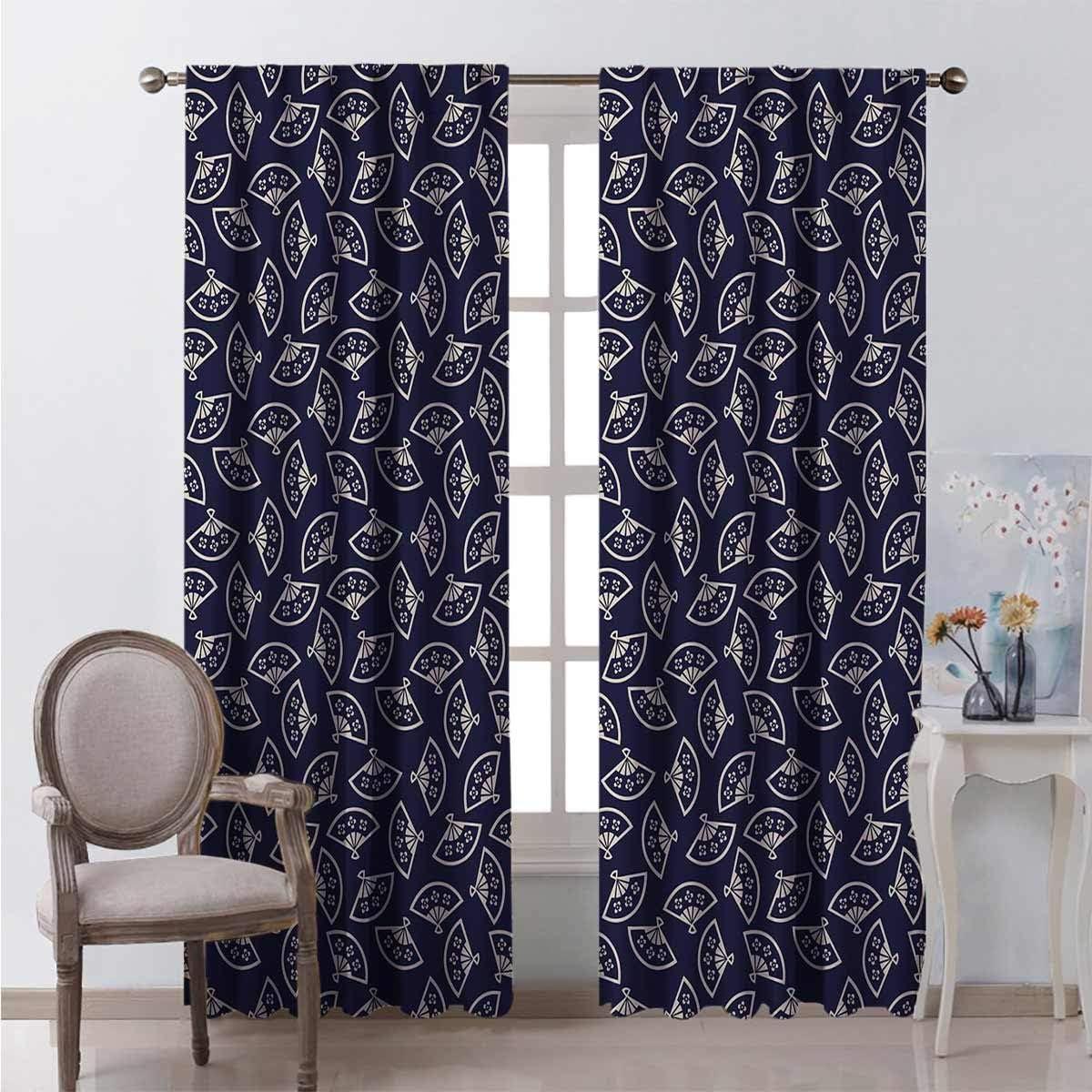 Cortinas para puerta corredera de 72 pulgadas de largo patrón de abanico multicolor negro hacia fuera cortinas para habitación 150 x 72 pulgadas