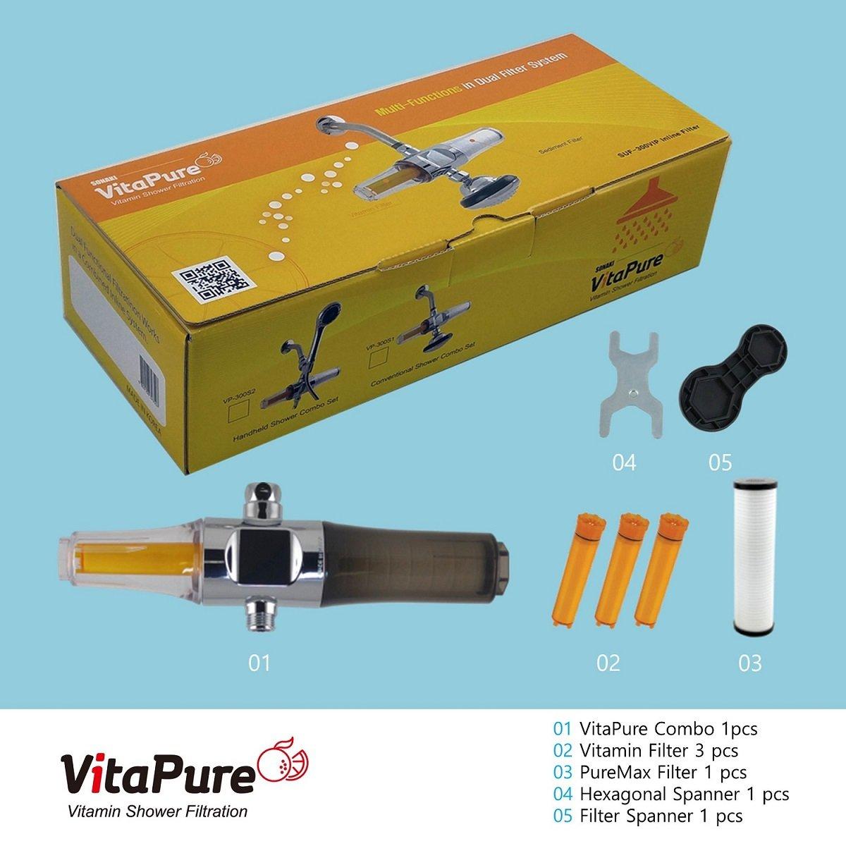VitaPure Combo Shower & Water Filter, SUF-300VPX Premium for Anti ...