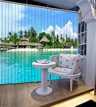 Chlwx 3D tapete HD 3D Fenster Vorhang Mode Reisen Vorhänge Blackout ...