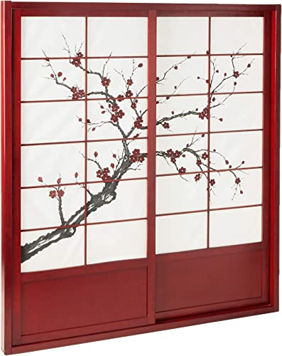 Oriental Furniture 7 ft. Tall Cherry Blossom Shoji Sliding Door Kit – Rosewood