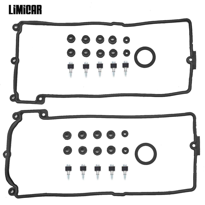 LIMICAR Valve Cover Gaskets Kit Compatible with BMW 545i 550i 645Ci 650i 745i 745Li 750i 750Li Alpina B7 X5 4.4L 4.8L V8 11127513195 11 12 7 513 194