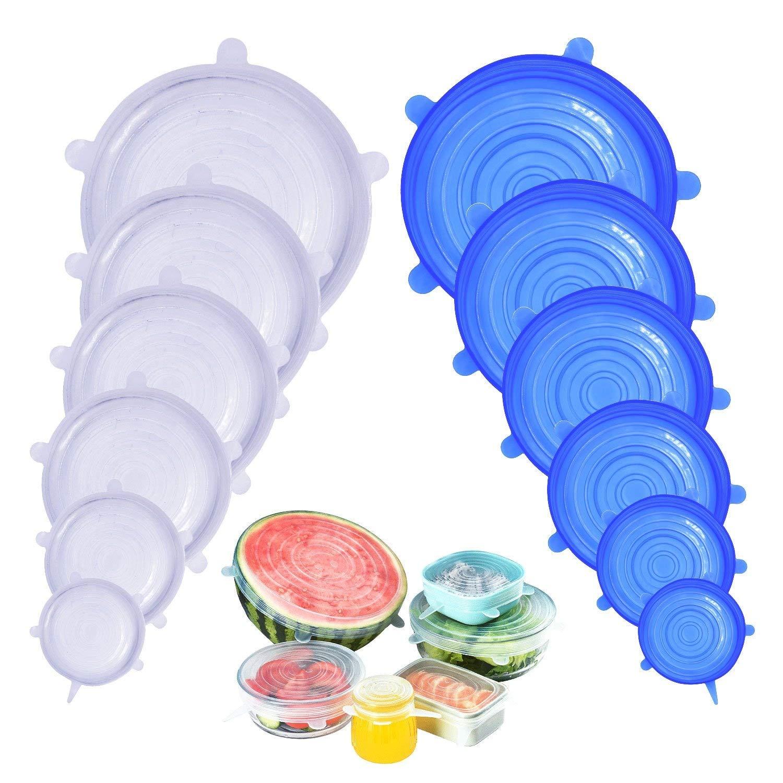 12 Pack Tapas de Silicona el/ásticas, Tapas Extensibles Reutilizables de Varios Tama/ños,Protecci/ón F/ácil para la Comida Supband