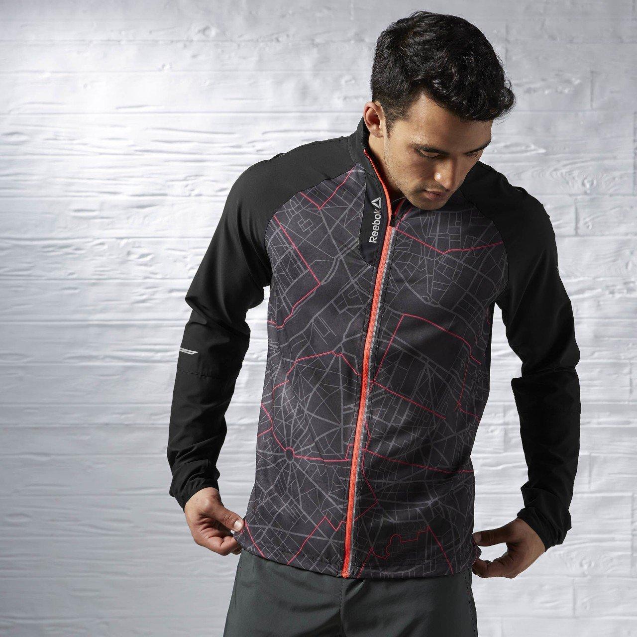Reebok Osr Paris uomo sport running antivento giacca in tessuto, Uomo, Black, Red, S