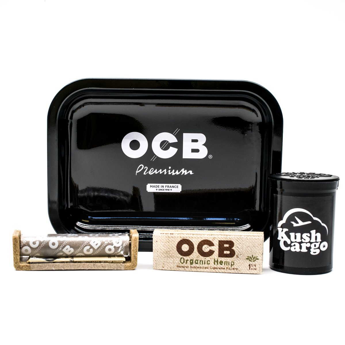 Bundle - 4 Items - OCB Rolling Tray Travel Size with OCB Rolling Papers and Roller (Black)