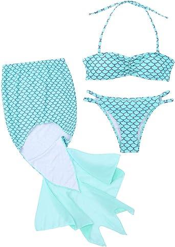 YiZYiF Traje de Baño Disfraz Sirena Mujer Chica Bikinis con ...