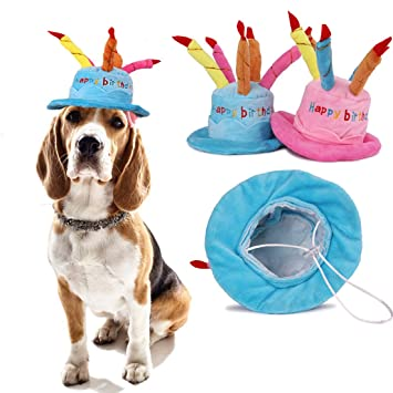 Aisuper Cute Birthday Cake Caps Winter Hat For Pet Dogs Cats Hats Costumes A With Candles Shaped Dog Supplies Pink Amazoncouk