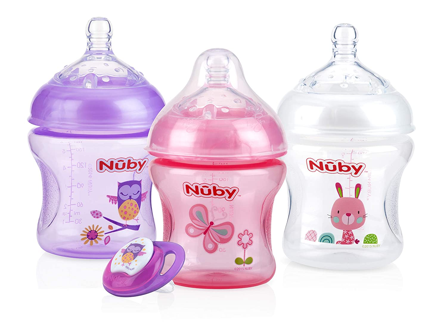 Nuby Natural Touch 3 Pack Bottles with Slow Flow Nipple & Bonus Ortho Pacifier- Girl (80186CS24)