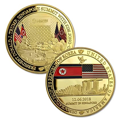 President Donald J  Trump and Kim Jong-Un Challenge Coin Singapore Summit  Commemorative Coin