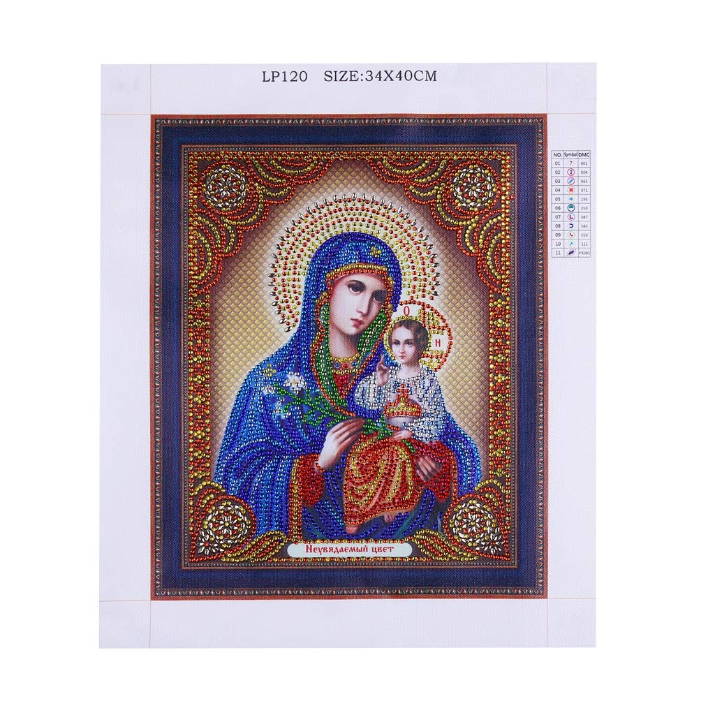 DIY 5D Diamond Painting Religious Partial Drill Rhinestone Embroidery Dotz Cross Stitch by Number Kit Home Wall Decor for Adults Kids Beginner (A) by Codiak-Decor (Image #4)