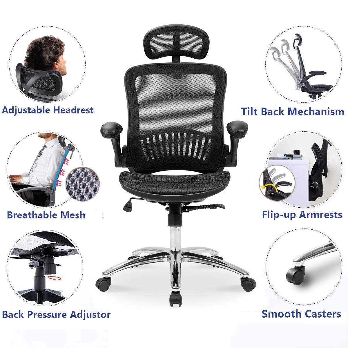 Merax Ergonomic Mesh Adjustable Home Desk Chair Office Chair Modern New Design Reclining Chair by Merax (Image #3)