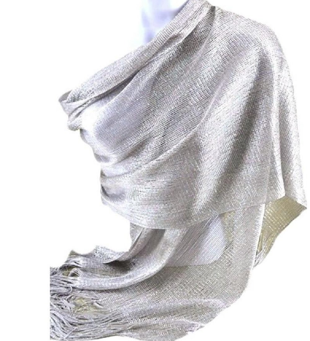 Love My Seamless Womens Ladies Fashion Metallic Shawl Scarf With Fringes (One Size, Silver)