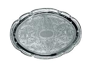 Update International CT-1510V Embossed Serving Tray Oval, 15 x 11 in, Stainless Steel