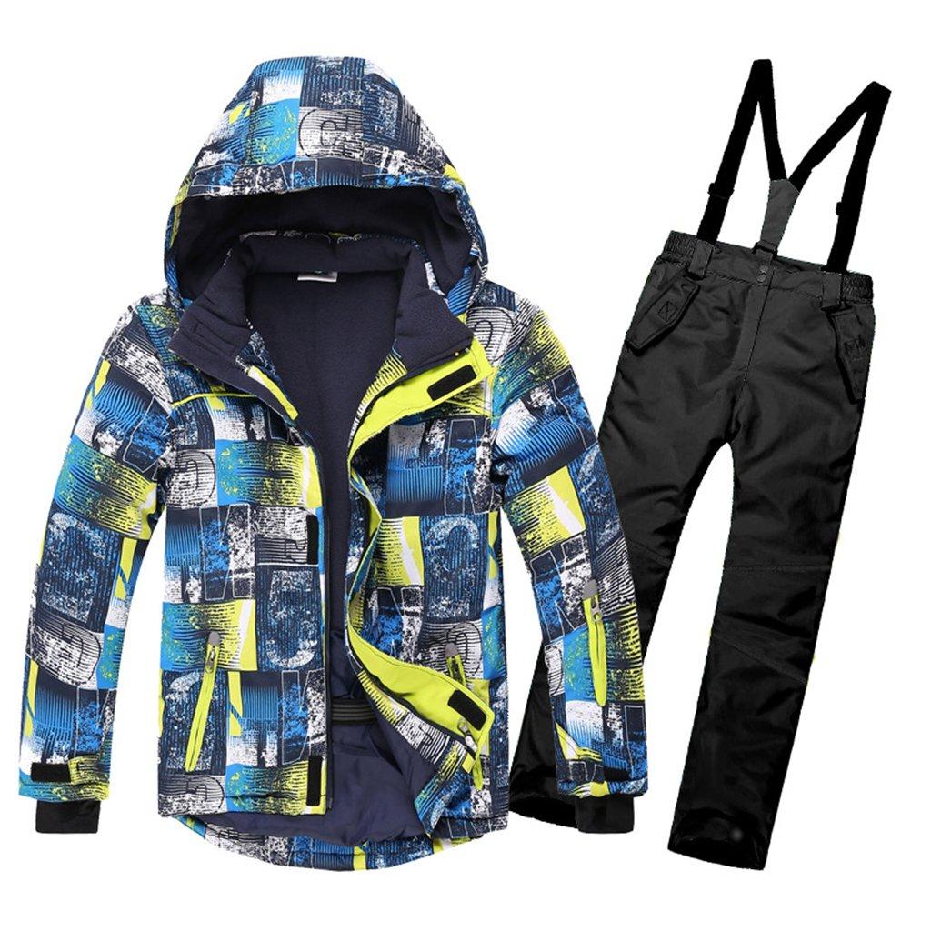OMSLIFE Kinder Skianzug Skijacke Skihose Regenlatzhose Verdickung Lang Jacket Wintermantel Mantel 116) YRF122-GN2
