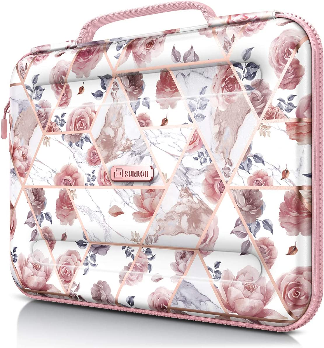 SURITCH Laptop Case, 13-13.3 Inch Laptop Sleeve Protective Bag, Pink Floral Slim Briefcase Waterproof Notebook Computer Carrying Case Cover Handbag for Women-Rose Marble