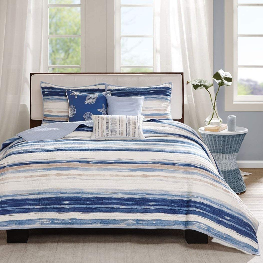 F&W 6 Piece Trendy Blue Tan White King/Cal King Coverlet Set, Striped Themed Bedding Contemporary Nautical Coastal Watercolor Navy Aqua Ocean Seashells Beautiful Seaside Beach Water Nature, Polyester