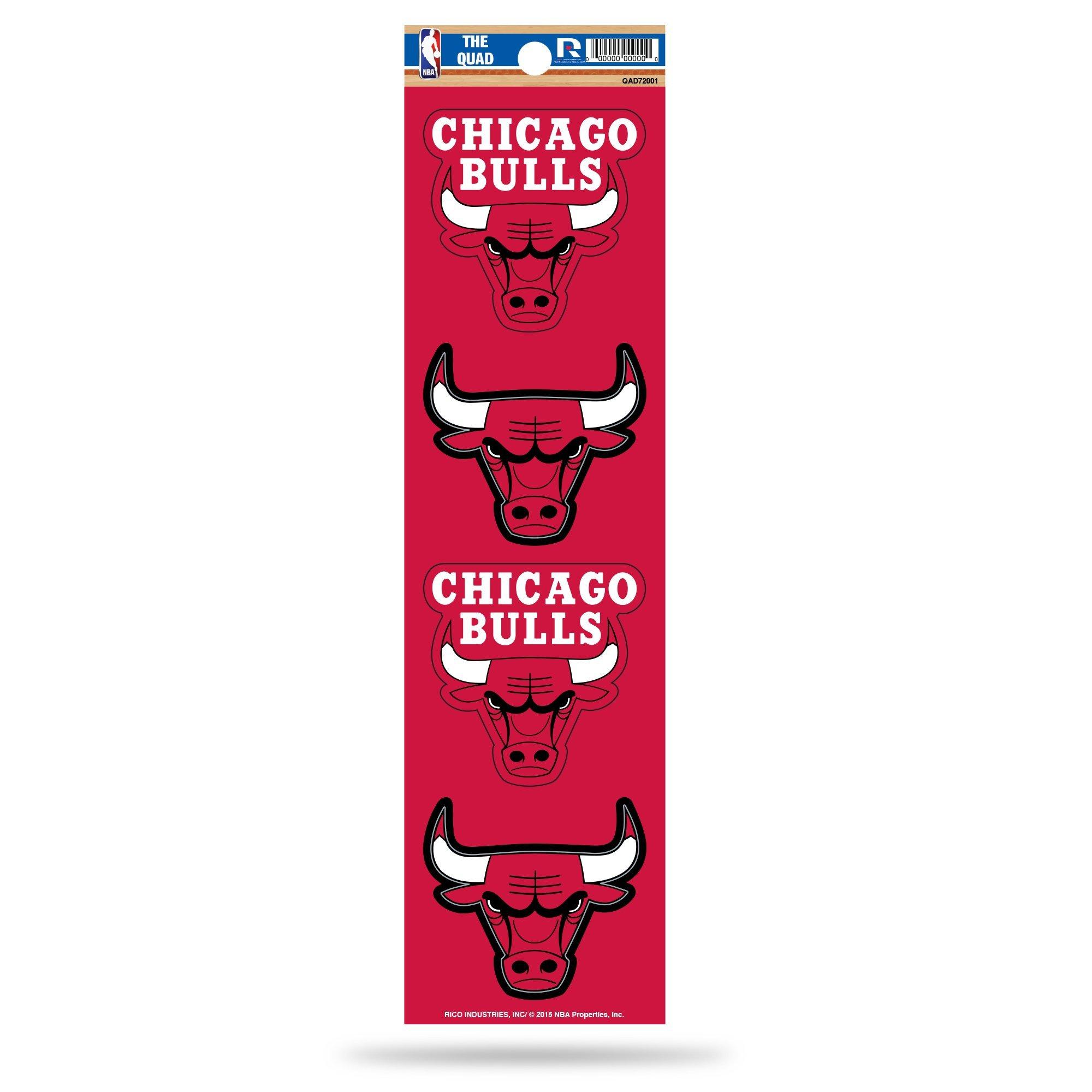 Rico NBA Chicago Bulls Die Cut 4-Piece The Quad Sticker Sheet