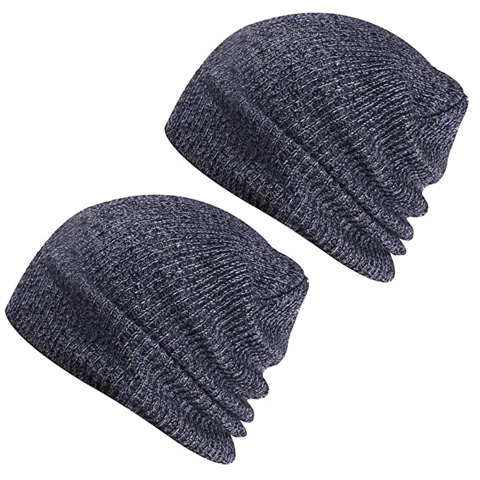 Paladoo Winter Hats Knit Beanie Caps Soft Warm Ski Hat (2pcs Dark Grey) 2ee134b77b3