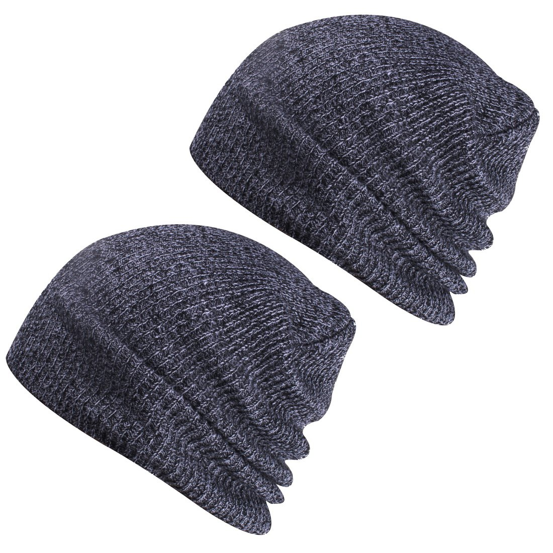 Paladoo Winter Hats Knit Beanie Caps Soft Warm Ski Hat (2pcs Dark Grey)