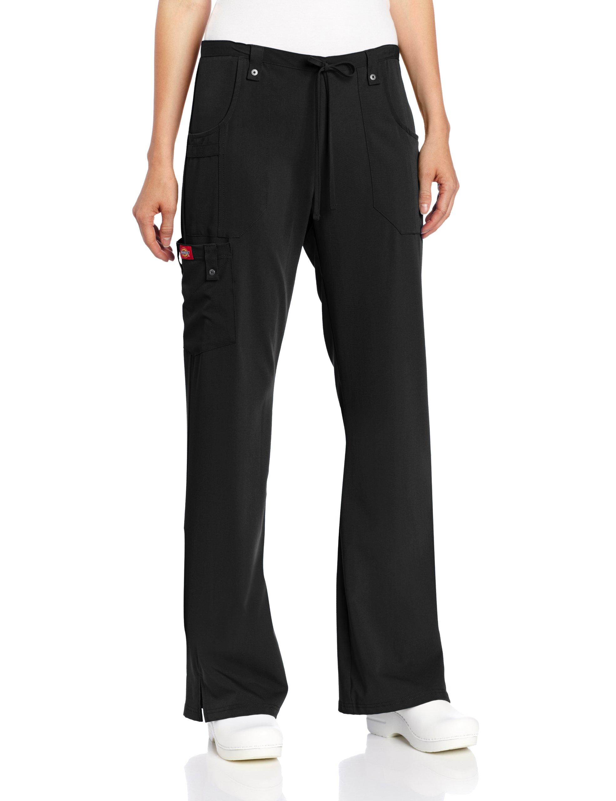 Dickies Women's Xtreme Stretch Fit Drawstring Flare Leg Pant, Black, 4X-Large