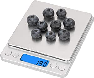 Emoly Food Scale,Digital Kitchen Scale, Mini Size Food Scale 500g/ 0.01g - High Precision Jewelry Weight Scale with Platform, Stainless Steel, LCD Display, Tare,Pcs Features(Does not Include Battery)