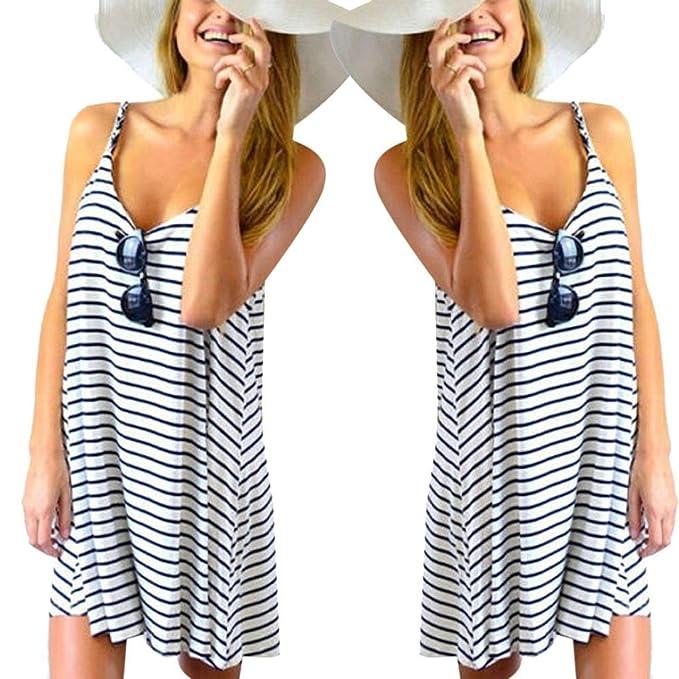 dca8aafe53 Amazon.com: Pocciol Women Soft Striped Beach Slip Dress Loose Party Casual  Sundress Mini Dress: Clothing