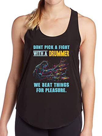 3d379ff3 Amazon.com: FamiKool Dont Pick a Fight with a Drummer Drum Lover Women's  Tank - top tee: Clothing