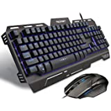 TeckNet Phoenix Mechanical-Feel Gaming Keyboard and Mouse Set, Water-Resistant Design, Aircraft-Grade Aluminum