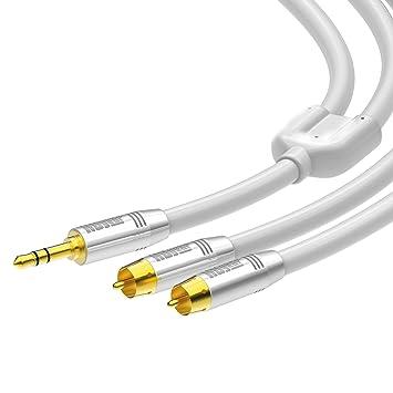 HDGear Premium 3,5mm Klinkenstecker Klinkenbuchse Verlängerungskabel 5m Weiß
