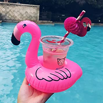 GREEN HOME 1 Soporte Flotador de Flamenco Inflable de PVC para Bebidas, Flotante, Hinchable, para Piscina, Playa, Fiesta, niños, Soporte para Bebidas: ...