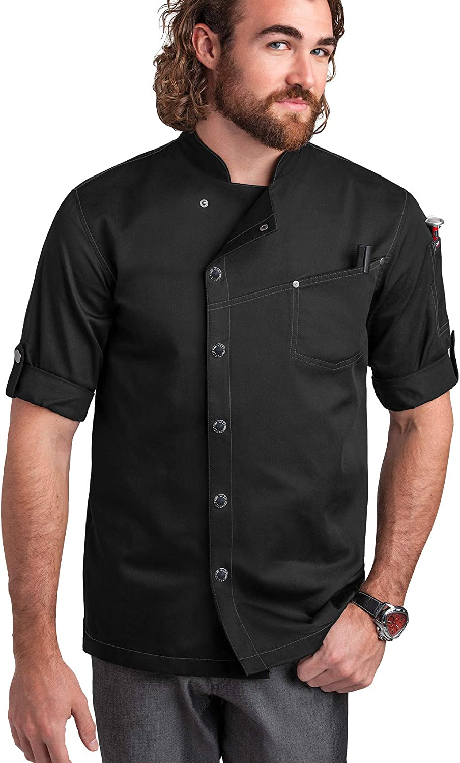 Men's Asymmetrical 3/4 Rolled Up Sleeves Chef Coat (S-3X, 2 Colors)