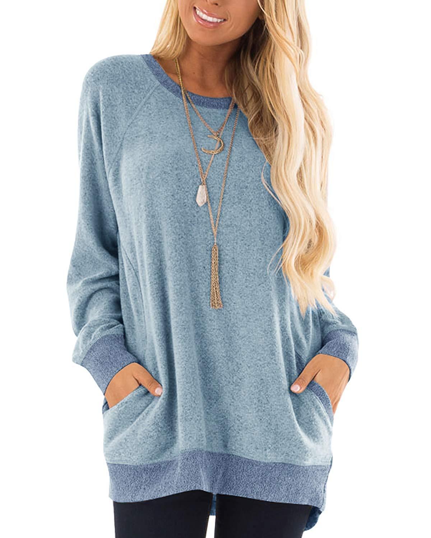 PARPERNA Long Sleeve Sweatshirt for Women Tunic Tops Pocket Blouses for Leggings by PARPERNA