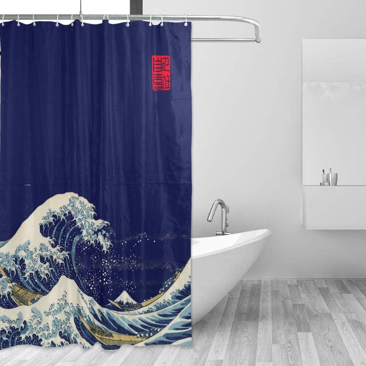 WELLDAY Premium Japanese Wave Shower Curtain, Aquatic Swirls Birds of Ocean Ukiyo-e Style Artwork Greyscale Background, Fabric Bathroom Decor Set with Hooks, Blue - 60x72 inch