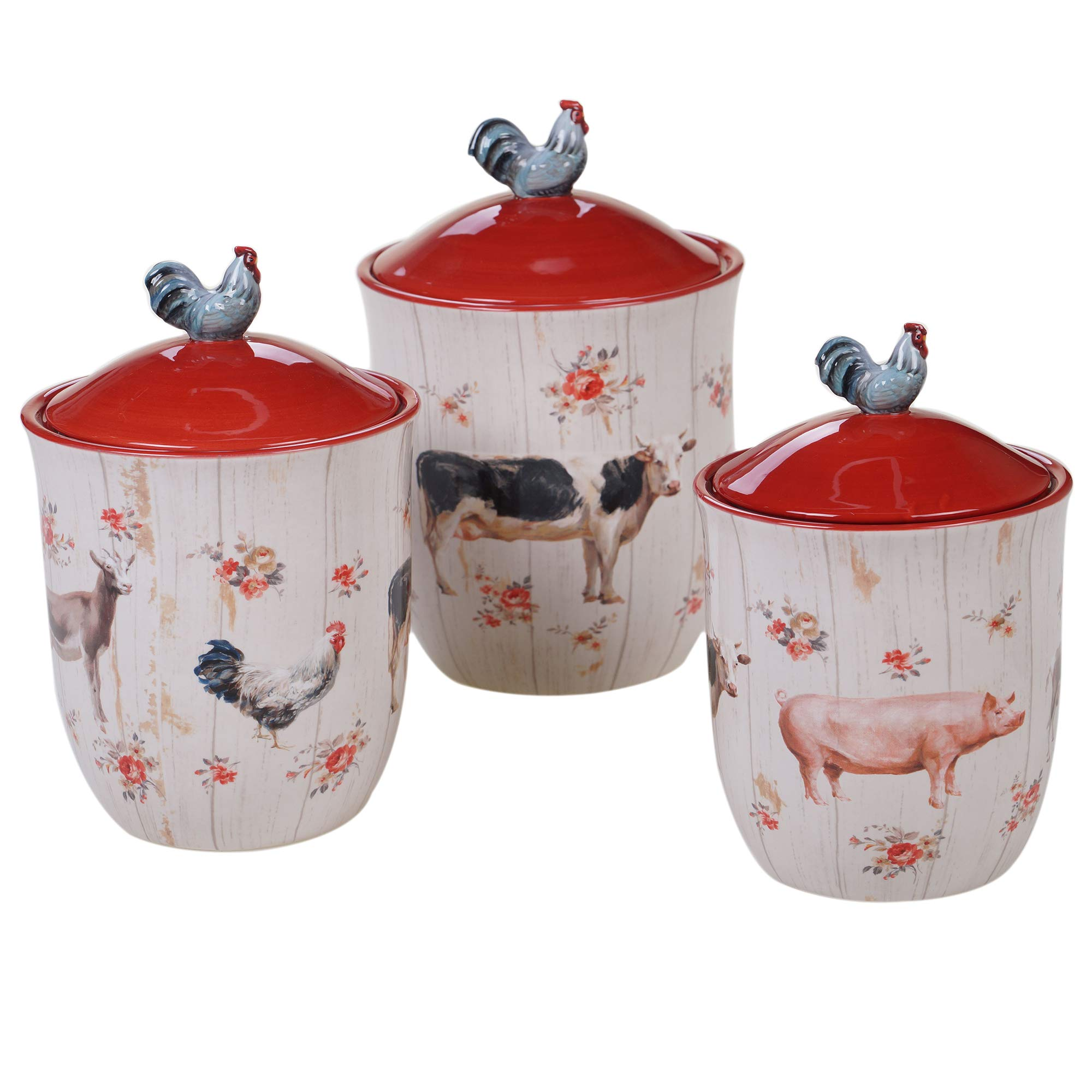 Certified International 26736 Farmhouse 3 pc. Canister Set Servware, Serving Acessories, Multicolred