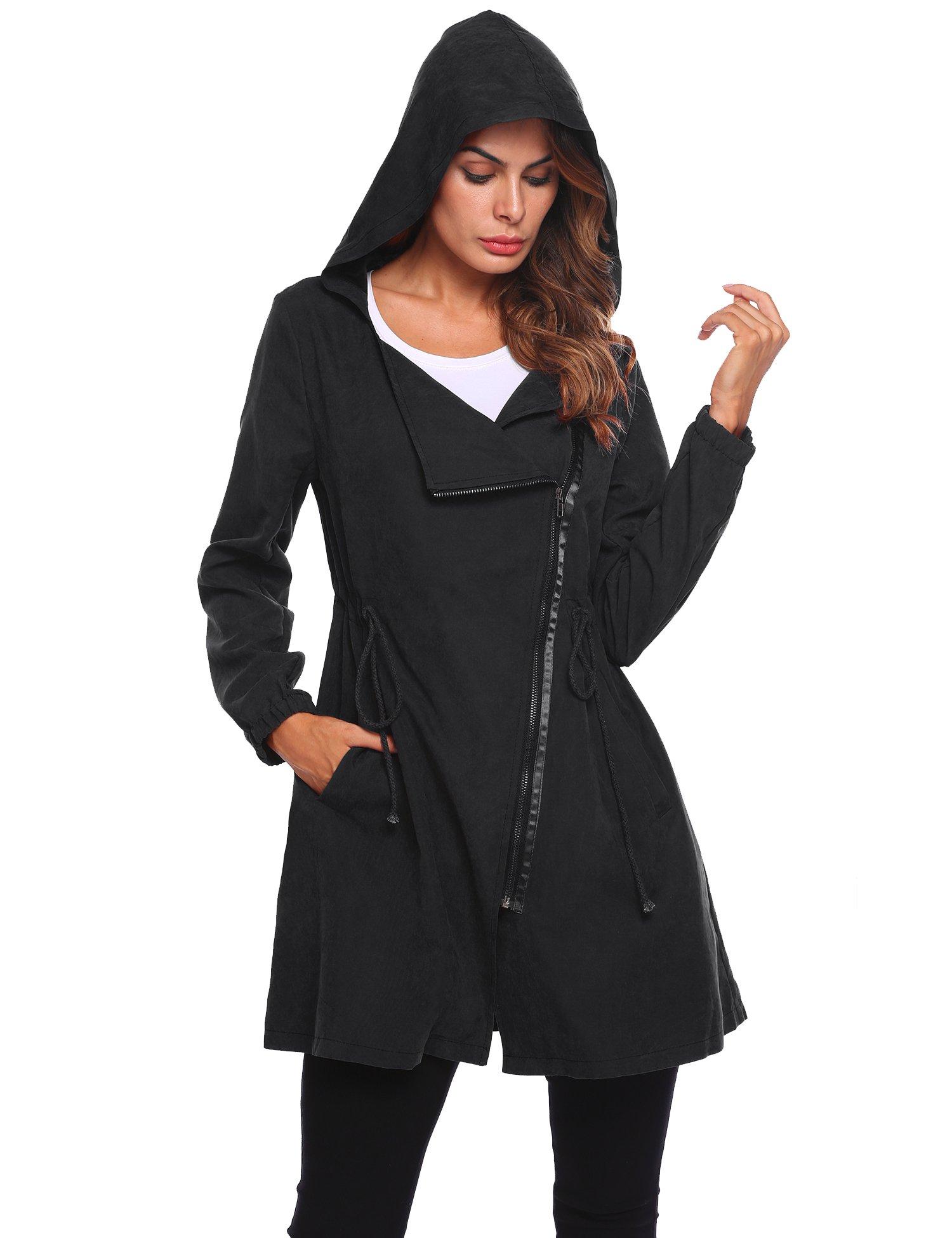 SE MIU Womens Hooded Asymmetric Zipper Drawstring Long Trench Coat Outerwear Jacket, Large, Black