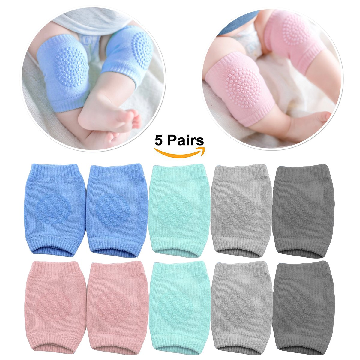 Baby Knee Pads for Crawling with Anti-Slip Grip - 5 Pairs - Boys & Girls Color Options - by MJsmile (Baby Girl)