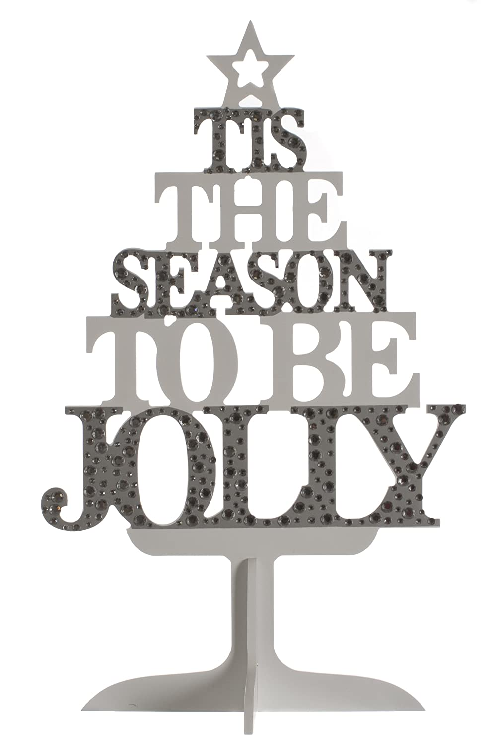 FESTIVE PRODUCTIONS 800643 45Cm Silver And White Wooden Text Tree